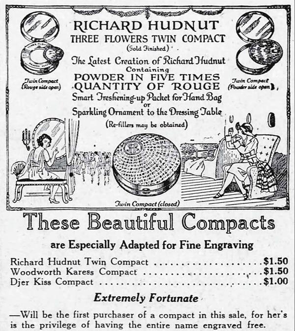 Richard Hudnut Three Flowers twin compact ad, 1922
