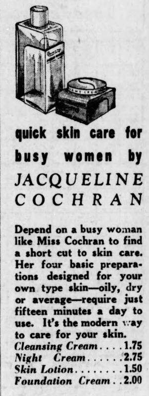 Jacqueline Cochran cosmetics ad, 1939