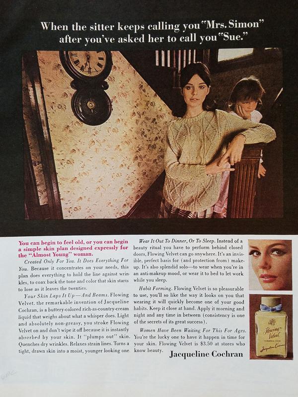 Jacqueline Cochran Flowing Velvet ad, 1966