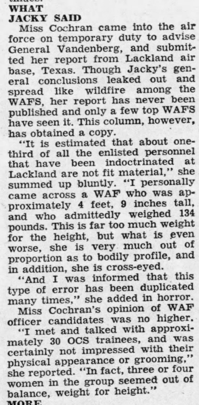 Jacqueline Cochran 1951 news article