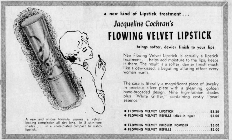 Jacqueline Cochran Flowing Velvet lipstick ad, 1959