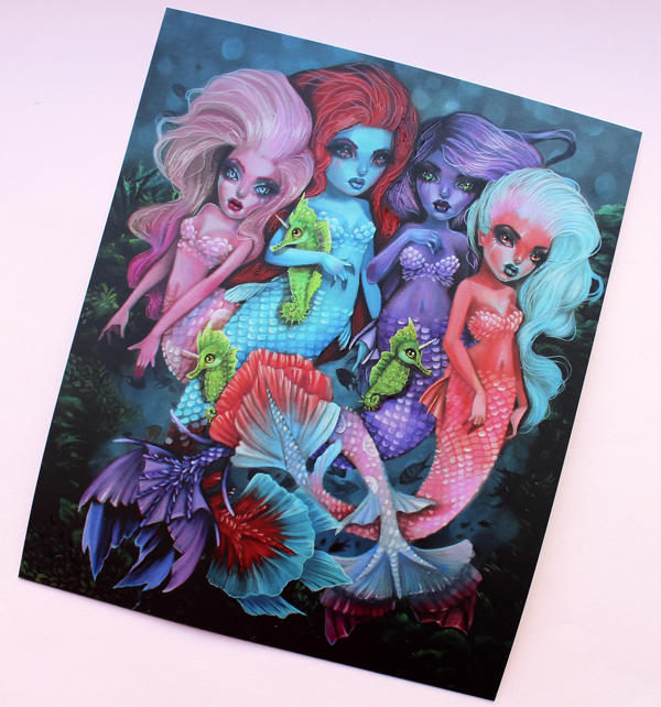 Unicorn Cosmetics mermaid brush set postcard - artwork by Kurtis Rykovich