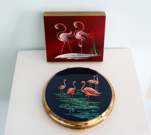 Vintage flamingo compacts