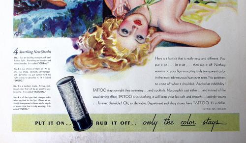 Tattoo lipstick ad, 1934