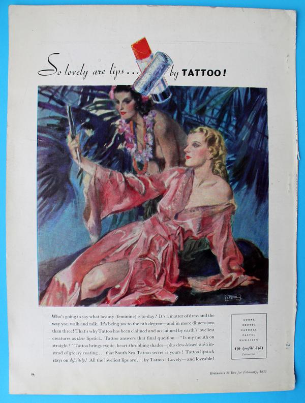 Tattoo lipstick ad, 1938