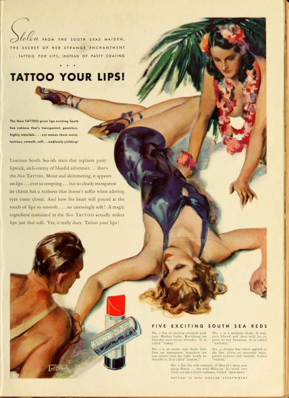 Tattoo lipstick ad, 1937