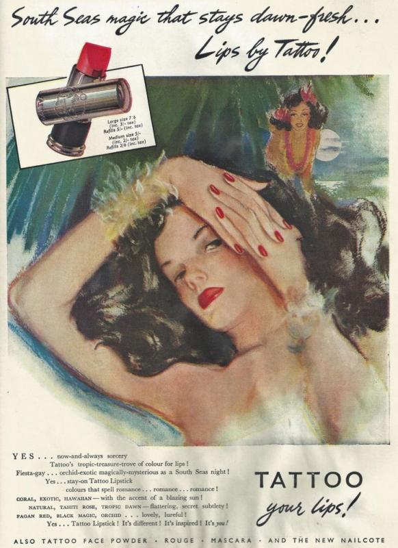 Tattoo lipstick ad, 1947