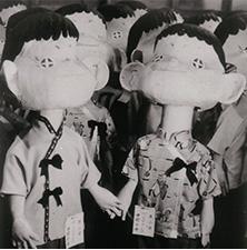 Peko and Poko papier mache dolls