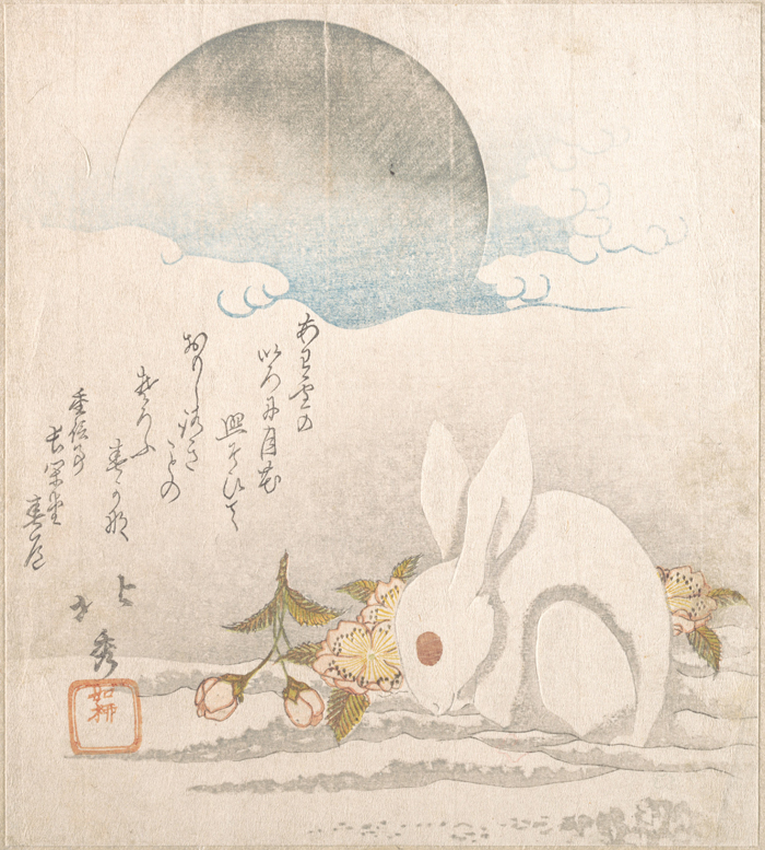 Moon; White Hare in Snow by Taisosai Hokushu, 1819