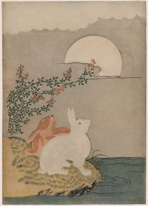 Hares and Autumn Full Moon, attributed to Suzuki Harunobu (1725-1770