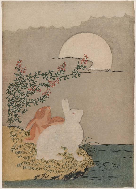 Hares and Autumn Full Moon, attributed to Suzuki Harunobu (1725-1770