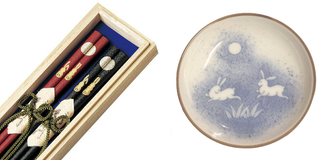 Moon rabbit chopsticks and dipping dish