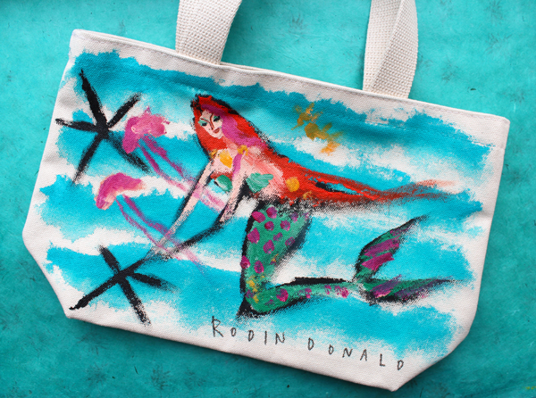 Donald Robertson mermaid tote bag