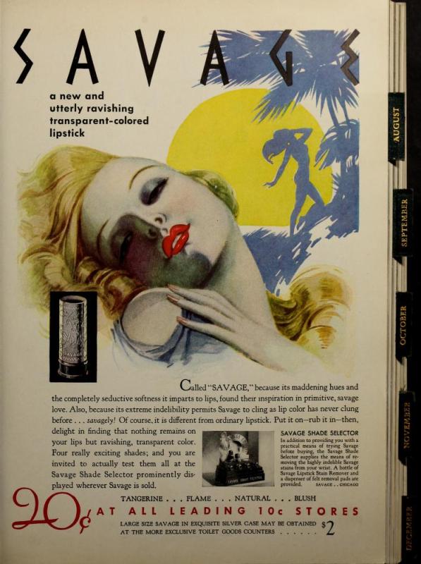 Savage lipstick ad, 1934