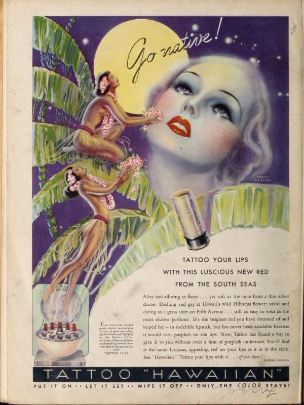 Tattoo lipstick ad, 1935