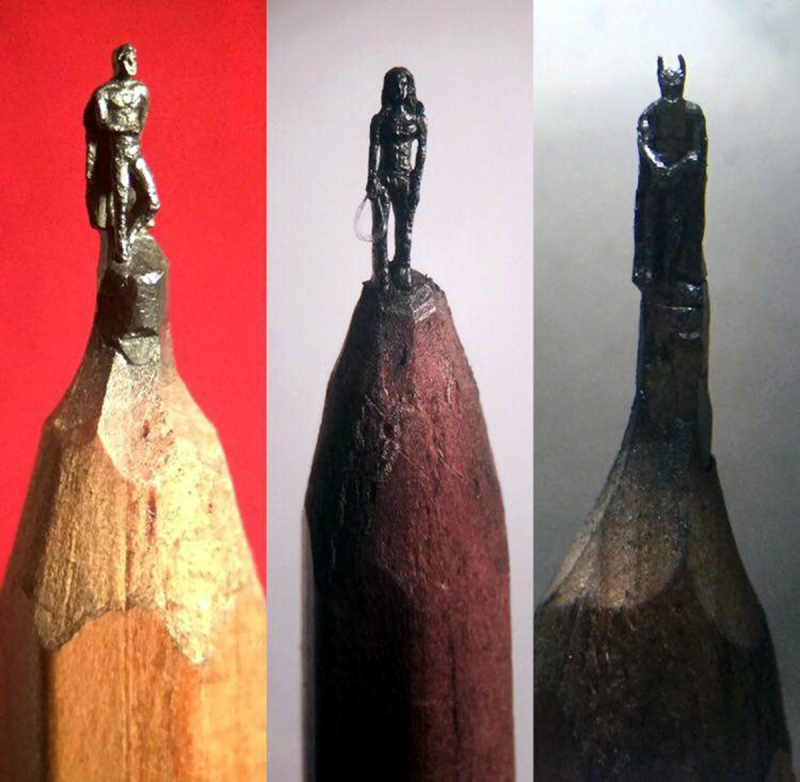 Hedley Wiggan superheroes pencil sculptures