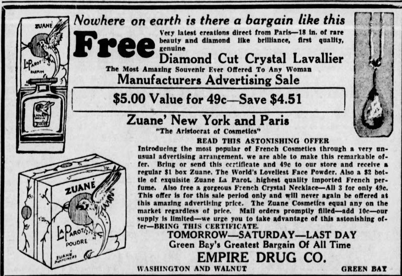 Zuané powder ad, 1932