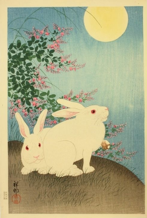 Rabbits and the Moon by Ohara Koson (Shōson), 1931