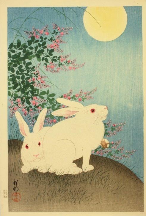 Rabbits and the Moon by Ohara Koson (Shōson), 1931