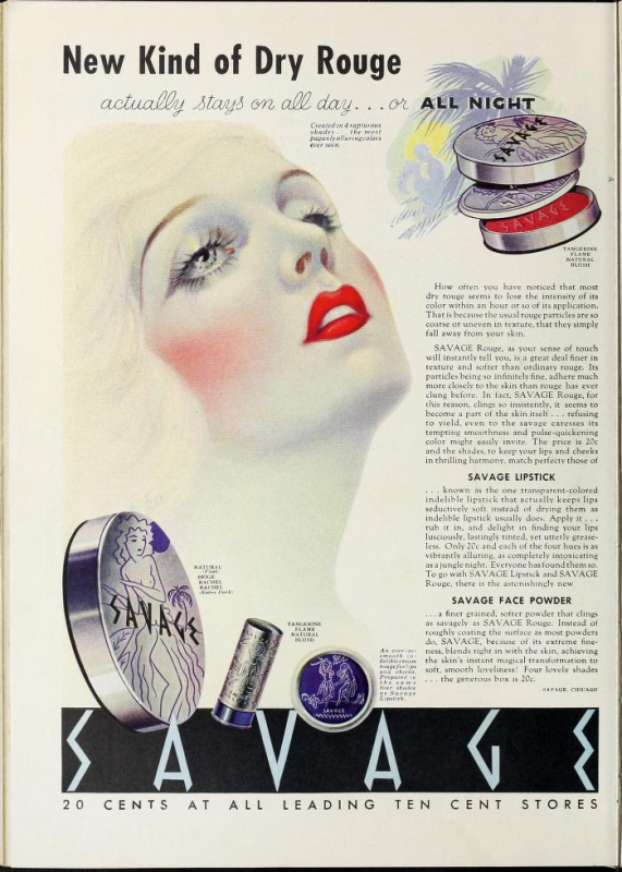 Savage Dry Rouge ad, 1935