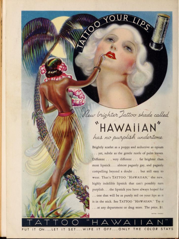 "Tattoo ""Hawaiian"" ad, 1935"
