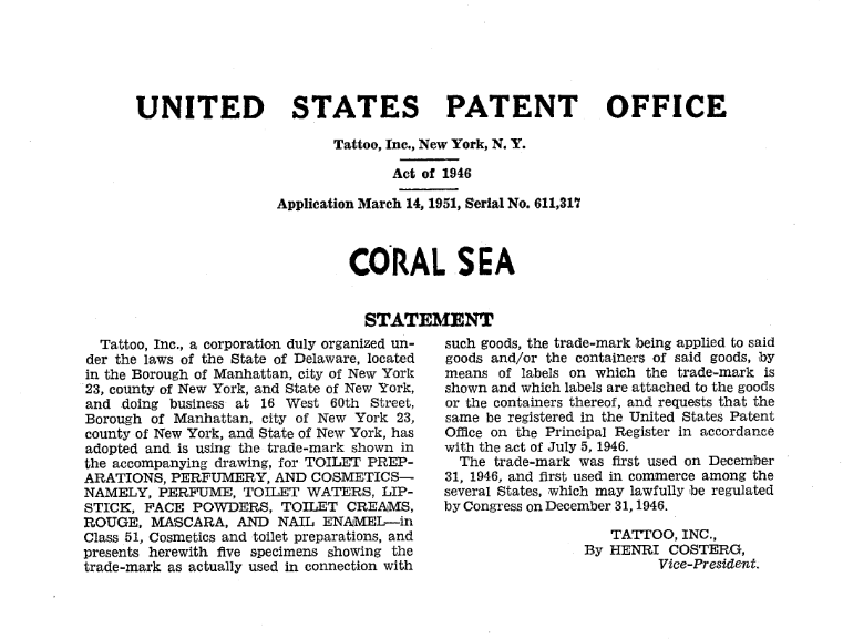 Tattoo Coral Sea patent