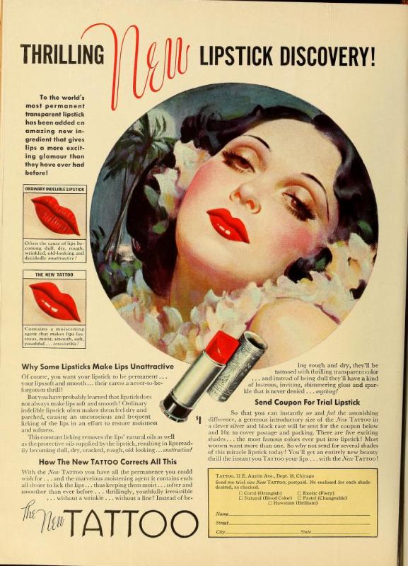 Tattoo lipstick ad, 1936-37