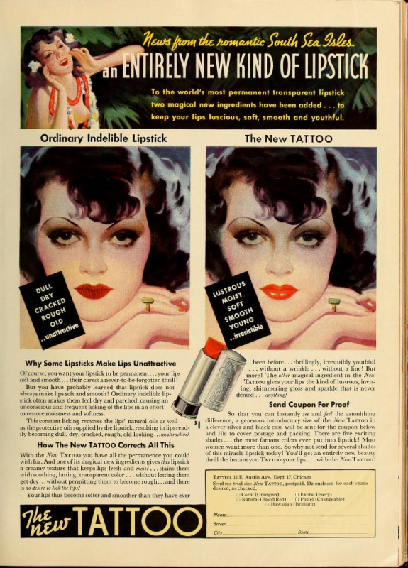 Tattoo ad, 1936-37