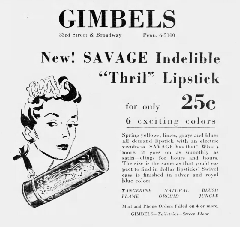 Savage lipstick newspaper ad, 1939