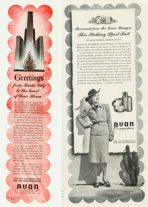 Avon ads, 1941 and 1942