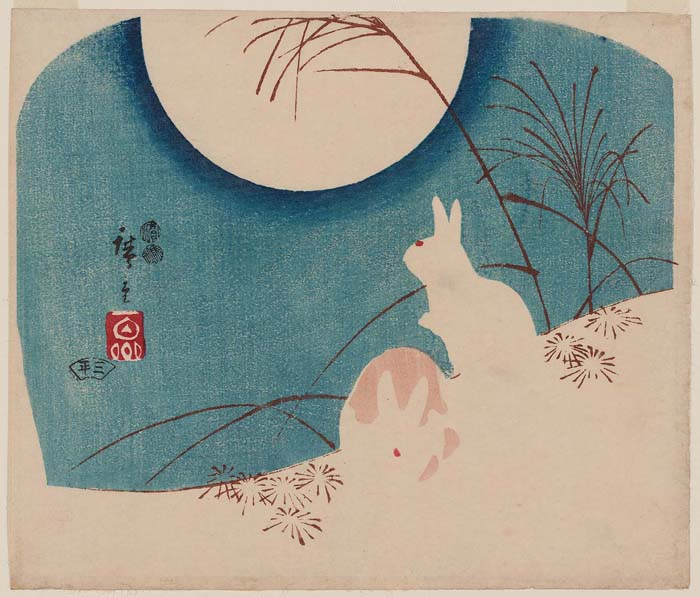 Rabbits in Moonlight by Utagawa Hiroshige, ca. 1847-1852