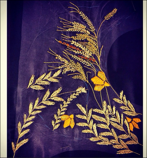 Sirivannavari spring 2015 wheat embroidery