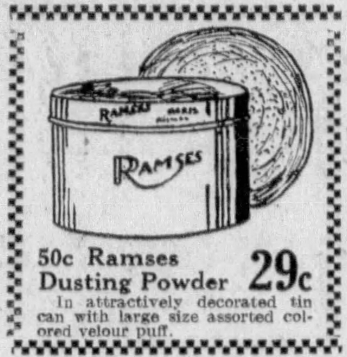 1929 newspaper ad for Ramses dusting powder