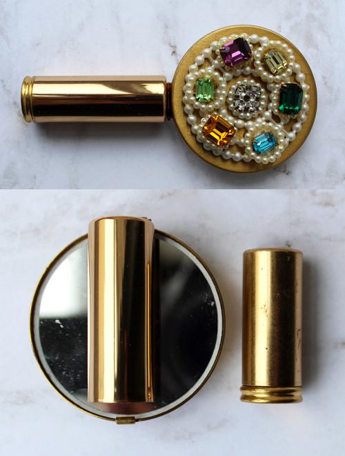 vintage folding lipstick mirror