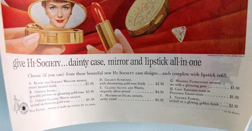 Max Factor Hi-Society lipstick case ad, 1959