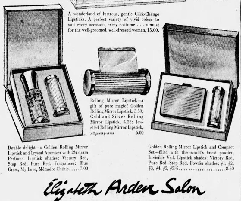 Elizabeth Arden Rolling Mirror lipstick ad, Dec. 1960