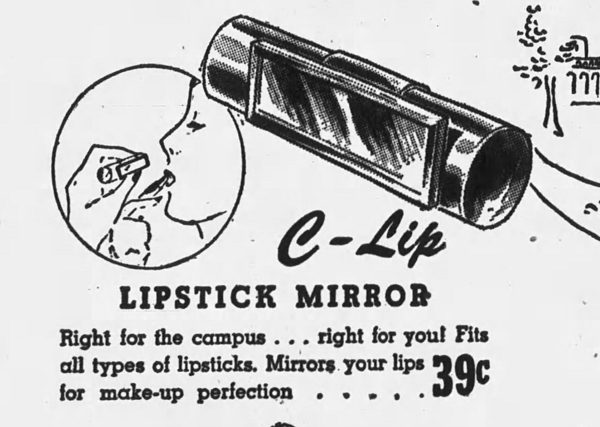 C-lip lipstick mirror ad, September 1946