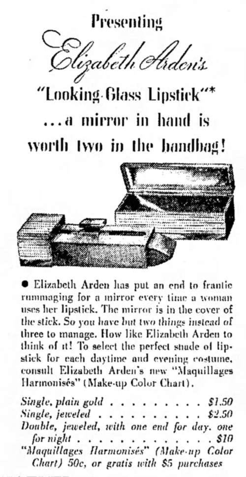 "Elizabeth Arden ""Looking Glass"" lipstick ad 1936"