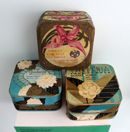 Richard Hudnut Gardenia and Sweet Orchid powder boxes