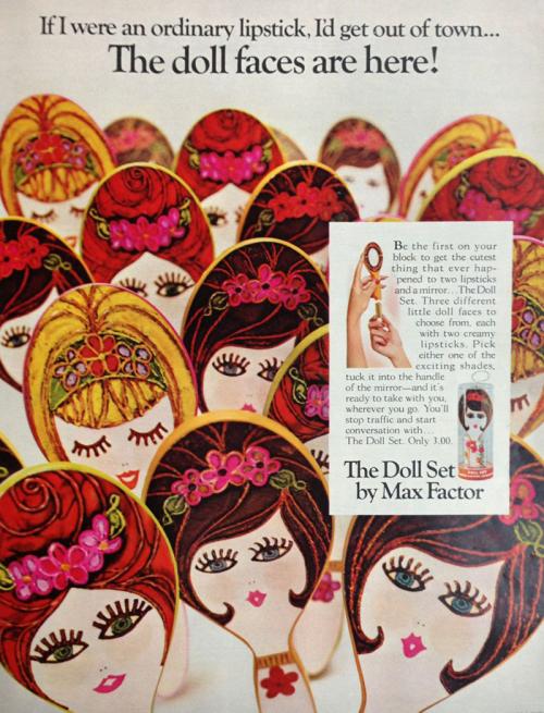 Max Factor doll lipstick ad, 1967
