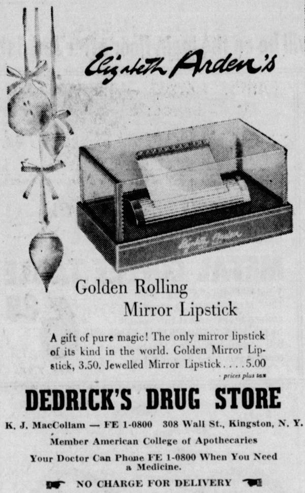 Elizabeth Arden Golden Rolling lipstick mirror ad, Dec. 1960