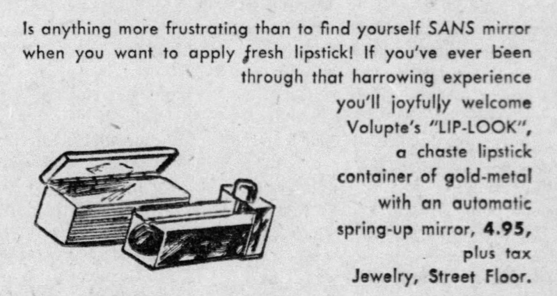 Volupte Lip-look ad, Oct. 1, 1949