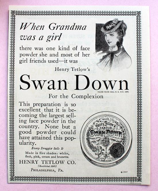 Tetlow Swan Down ad, 1917