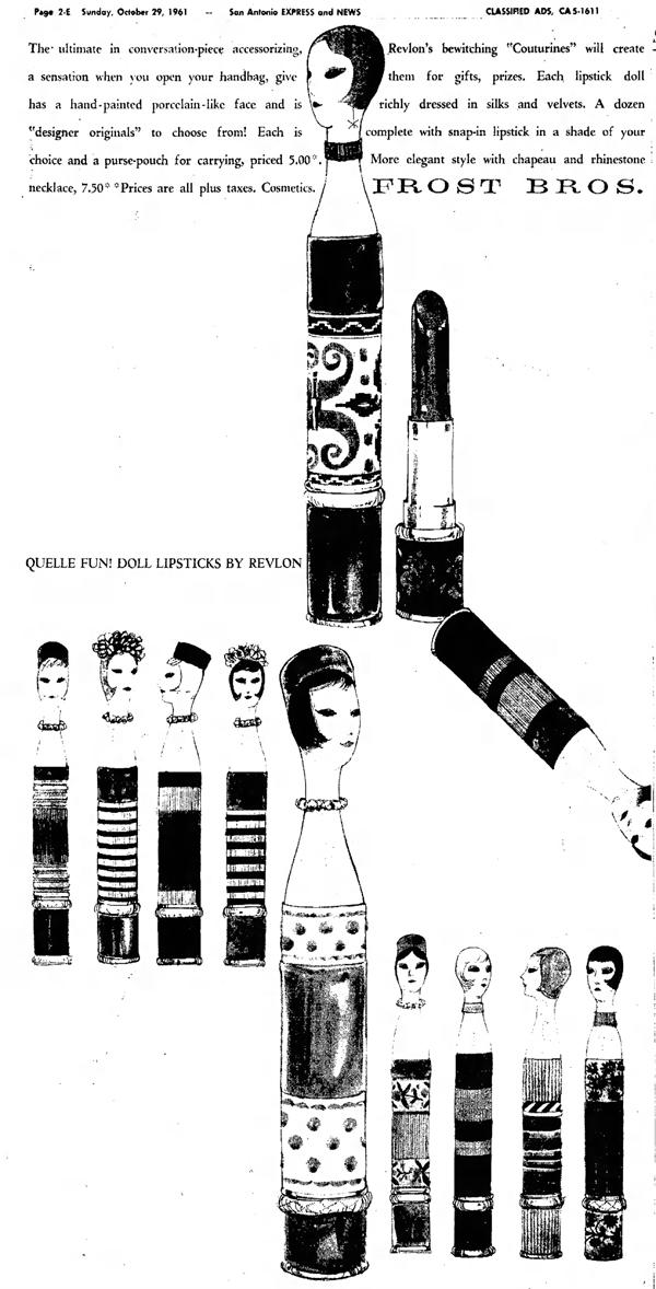 Revlon couturine lipstick ad, 1961