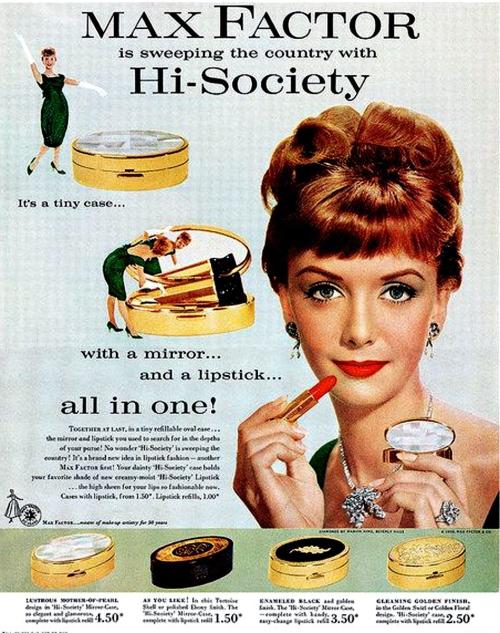 Max Factor Hi-Society lipstick ad, 1959