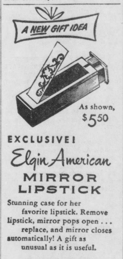 Elgin lipstick mirror ad, Dec. 1953