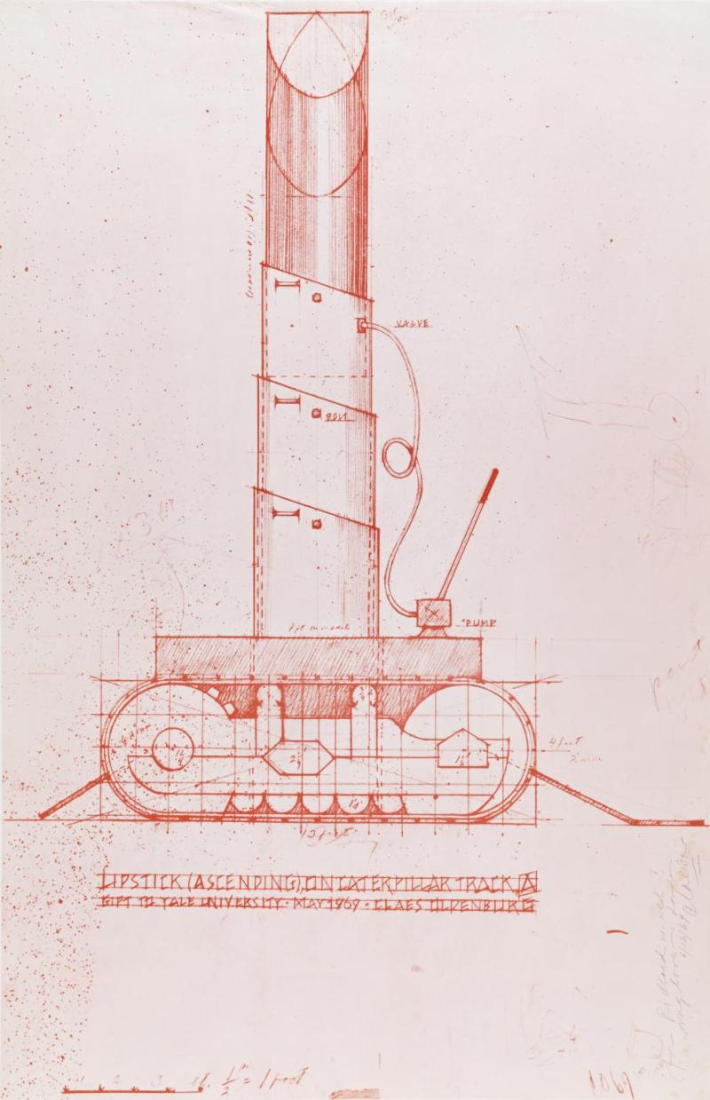 Lipstick (Ascending) on Caterpillar Tracks drawing, Claes Oldenburg