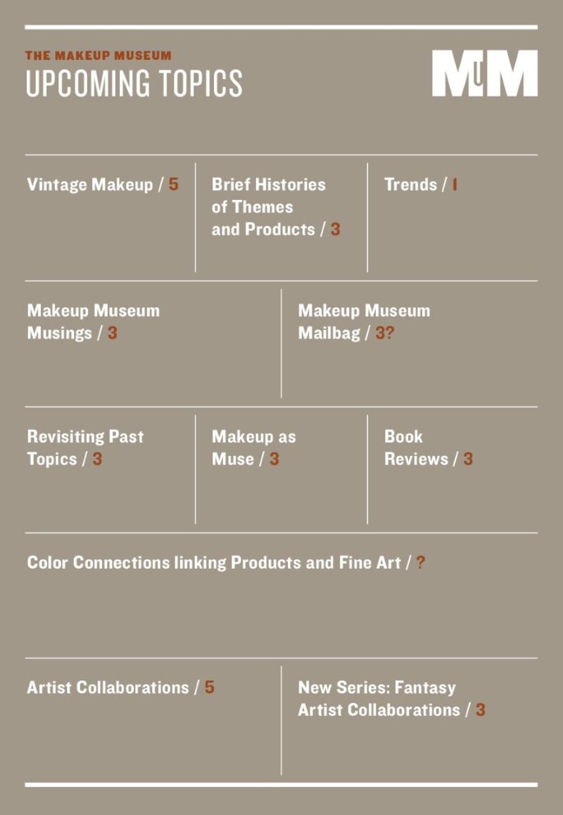Makeup Museum upcoming topics list