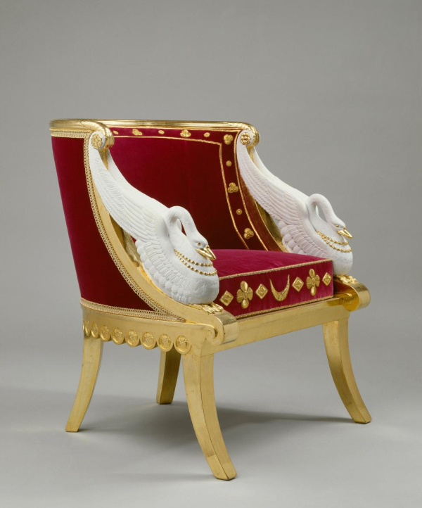 Chateau de Malmaison - swan chair made for Josephine's bedroom