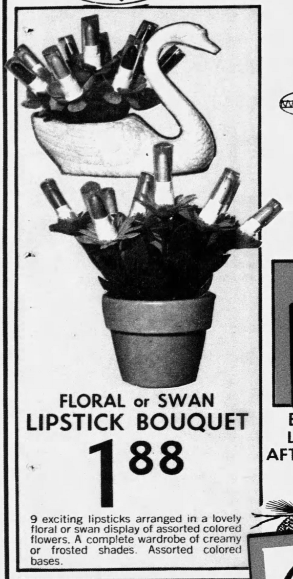 Ad for Loveland swan lipstick bouquet, November 1972_